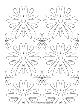 60s Flowers coloring page