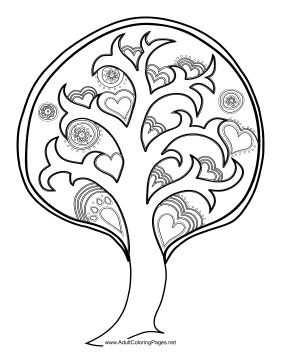 Heart_Tree coloring page